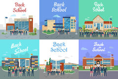 Back to School. Icons with Different Building Type Stock Image