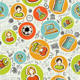 Back to School icons education seamless pattern. Stock Photography