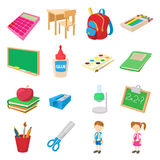 Back to school icons set, cartoon style. Back to school icons set in cartoon style  on white Royalty Free Stock Photography
