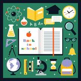 Back to school icons set Royalty Free Stock Image