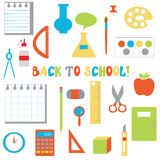 Back to school icons set  - funny flat design Royalty Free Stock Image