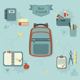 Back to school icons set - Modern flat design Royalty Free Stock Photos