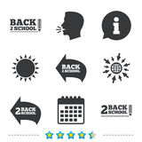 Back to school icons. Studies after the holidays. Back to school icons. Studies after the holidays signs. Pencil symbol. Information, go to web and calendar vector illustration
