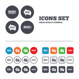 Back to school icons. Studies after the holidays. Signs. Pencil symbol. Web buttons set. Circles and squares templates. Vector Stock Photo