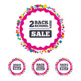 Back to school icons. Studies after the holidays. Web buttons with confetti pieces. Back to school sale icons. Studies after the holidays signs. Pencil symbol Royalty Free Stock Photos
