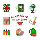 Back to school icons template. Vector pattern background. Illustration Stock Image
