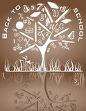 Back to school icons on the tree Stock Photo