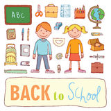 Back to school, icons, vector illustration. Stock Photography