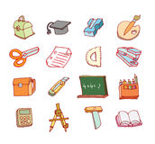 Back to school, icons, vector illustration. Stock Image
