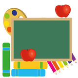 Back to school. Icons on white background with a big board Stock Images
