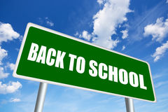 Back to school. Illustrated road sign stock photography