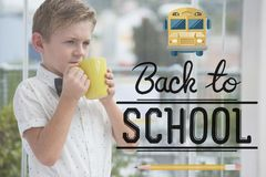 Back to school illustration against office kid boy drinking a cup of coffee background Royalty Free Stock Photo