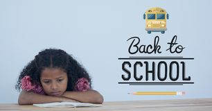 Back to school illustration against sad office kid girl reading Royalty Free Stock Photos