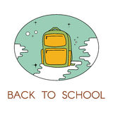 Back to school. Illustration with backpack. For logo, web, print Stock Photography