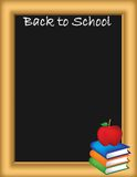 Back to school illustration. A back to school illustration with a blackboard, textbooks and an apple Royalty Free Stock Image