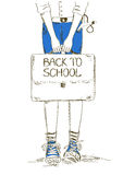 Back to school illustration with boy Royalty Free Stock Image