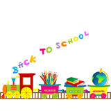 Back to school illustration with cartoon train. Over white background Stock Images