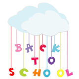 Back to school illustration with colored letters. And clouds Royalty Free Stock Image