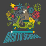 Back to school illustration with cute black and Stock Photos