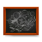 Back to school illustration drawn in chalk on blackboard Stock Photography