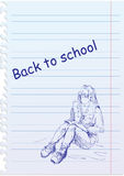 Back to school illustration with girl Stock Images