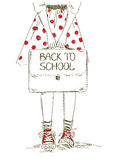Back to school illustration with girl Stock Photo