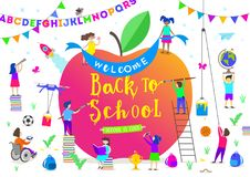 Back to school illustration. Group of active children around a giant apple. Children characters doing different activities Royalty Free Stock Photo