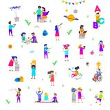 Back to school illustration. Group of active children. Set of isolated people characters. Stock Image