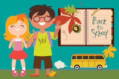 Back to school illustration with kids and bus Stock Photography