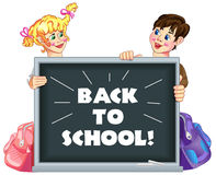 Back to school 1. Illustration of kids peeping behind school board.  With the words - back to school Royalty Free Stock Images