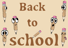 Back to school. Illustration of pencils with an inscription back in school Stock Photography