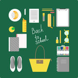 Back to school illustration. This is perfect flat design illustration of school topic.All you need for back to school bagpack, lunch-box, notebooks, pens, pencil Stock Photos