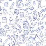 Back to school illustration on school notebook sheet of paper. Stock Photo
