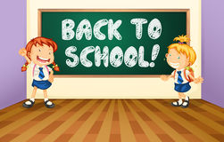 Back to school. Illustration of a back to school sign with students Royalty Free Stock Photos