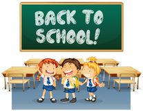 Back to School. Illustration of students and a back to school board Royalty Free Stock Images