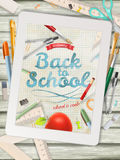 Back to school illustration with tablet. EPS 10 Stock Photography