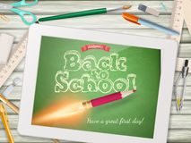 Back to school illustration with tablet. EPS 10 Royalty Free Stock Photo