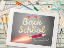 Back to school illustration with tablet. EPS 10. Vector file included Royalty Free Stock Image