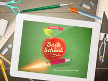 Back to school illustration with tablet. EPS 10 Royalty Free Stock Images