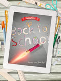 Back to school illustration with tablet. EPS 10 Stock Photos