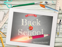 Back to school illustration with tablet. EPS 10 Royalty Free Stock Photography