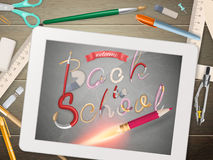 Back to school illustration with tablet. EPS 10 Royalty Free Stock Photos