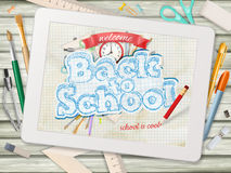 Back to school illustration with tablet. EPS 10 Royalty Free Stock Image