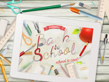 Back to school illustration with tablet. EPS 10 Stock Image