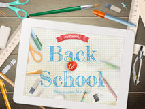 Back to school illustration with tablet. EPS 10 Stock Photo