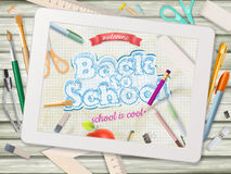 Back to school illustration with tablet. EPS 10 Stock Images