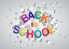 Back to school. Illustration of back to school text with abstract cubes Royalty Free Stock Image