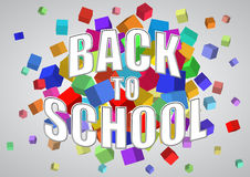 Back to school. Illustration of back to school text with abstract cubes Royalty Free Stock Photography