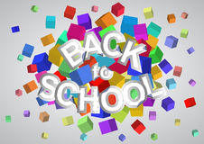 Back to school. Illustration of back to school text with abstract cubes Stock Photos