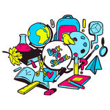 Back to school illustration with various hand drawn school elements Stock Image